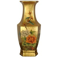 Oriental Furniture Unique Home Decor Gift, 14-Inch Ming Hexagon Gold Leaf Lacquer Porcelain Decorati