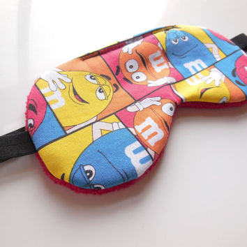 M&M's Sleep Mask, All Sizes, Fun Novelty, Blue Orange Red Yellow, Adult Women Teen Kids Child Boy Girl, Soft Fleece Back, Eye Cover, Candy