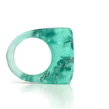 Asymmetrical Teal Green Resin Ring, Transparent Geometric OOAK Ring, Silver Flakes Resin Ring
