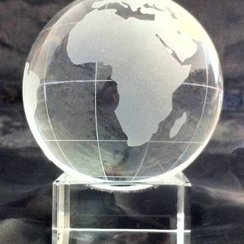 Free Engraving Personalized Custom Crystal Globe with Stand