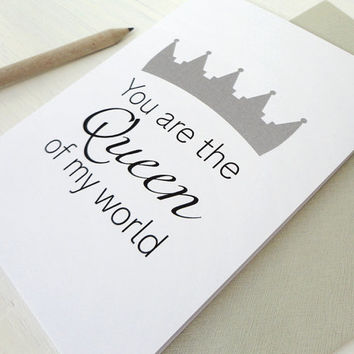 Mother's Day card Queen of my world crown black grey print inspirational card birthday