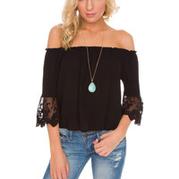 Halle Lace Top in Black