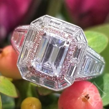 Simon G. Emerald Cut Two-Tone Halo Baguette Diamond Engagement Ring