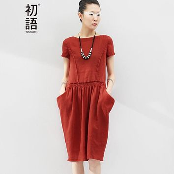 Toyouth Summer O-Neck Casual Dress Women Short Sleeve Linen Pocket Ball Grown Knee Length Loose Dress Plus Size