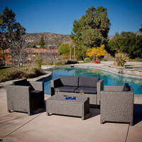Christopher Knight Home Puerta Grey Outdoor Wicker Sofa Set Fun Friends New Free