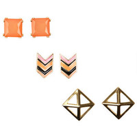 3-On Chevron /Gem/Facet Set - Multi
