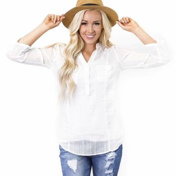 Cecilia Cross Hatch Dobby Weave Blouse