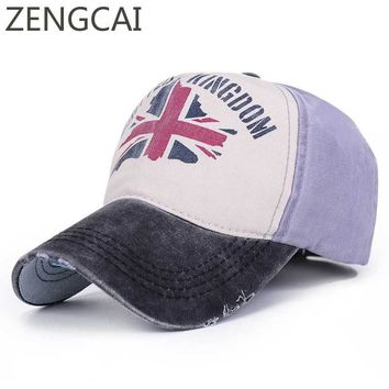 Trendy Winter Jacket Women's Baseball Cap Washed Cotton Patch Vintage Trucker Hat United Kingdom Print Snapback Caps For Men Summer Hip Hop Dad Hats AT_92_12