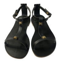 Black Leather Sandals for Women & Men - Design 23