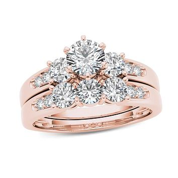 1-1/2 CT. T.W. Diamond Three Stone Bridal Engagement Ring Set in 14K Rose Gold