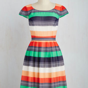 Mid-length Short Sleeves Fit & Flare Made for Each Color Dress in Stripes
