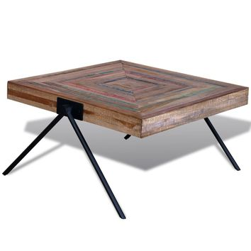 Unique Reclaimed Teak Coffee Table with V-Shaped Legs