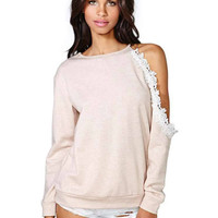 Pink Single Shoulder Cutout Lace Long Sleeve Trim Sweater