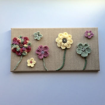 Crochet flower wall art on burlap canvas, home decor, burlap decor with crochet flowers, rustic wall decor, nursery wall art, flower art