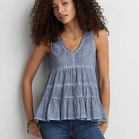 AEO Washed Babydoll Top, Blue
