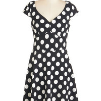 ModCloth Mid-length Short Sleeves A-line Get It, Dot It, Good! Dress