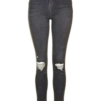 MOTO Grey Rip Jamie Jeans - Jeans - Clothing