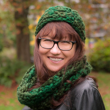 Hand Crochet Infinity Scarf and Hat Set Chunky Infinity Scarf Crochet Hat Beanie GreenTweed Winter Scarf Fall Winter Hat Christmas Gift Idea