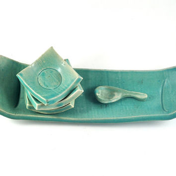 Tapas Sushi Tray and Three Square Condiment Dishes with Spoon Serving Set Aqua Green Rustic Ceramic Handmade Pottery