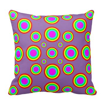 Rainbow Polka Dots, choose your background colour Pillow