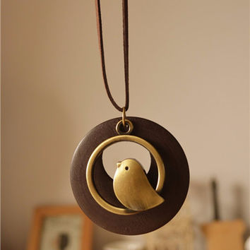 woman jewelry statement necklaces & pendants, Bird Wooden Bead pendant vintage Long necklace women christmas gift collares mujer