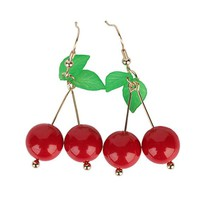 Trendy Plant Dangle Earring Jewelry Sweet Cherry Earrings for Women Bijoux Hot Fashion Street Ladies Girl Nice Christmas Gift