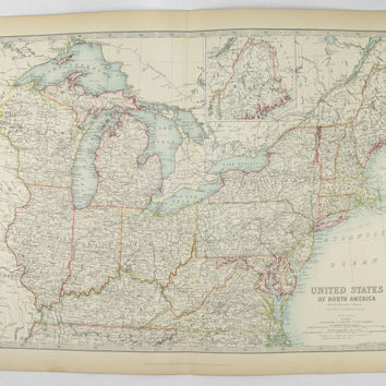 Northeast United States Map 1905 Johnston Map New York, Virginia Map, Illinois Michigan Map, New England State Map, Vintage Art Map