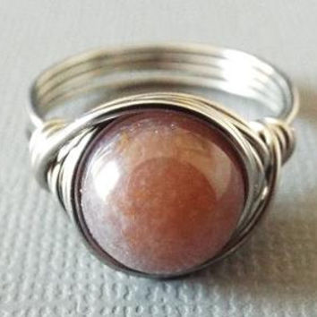 Titanium Ring, Jasper Ring, Wire Wrapped Ring, Unisex Ring, Purple Stone Ring, Homemade Jewelry, Unique Ring, Homemade Jewelry, Fancy Jasper