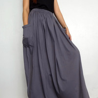 Women Maxi Long Skirt , Casual Gypsy, Bohemian , Cotton Blend In Gray (Skirt *M2).