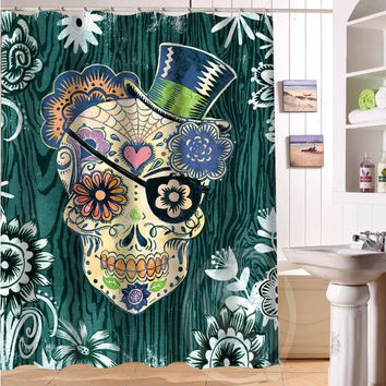 "Custom Fashion Popular Bath Curtain Flowers Sugar Skull Shower Curtains 48"" x 72"" Inch Bathroom decor Free shipping"