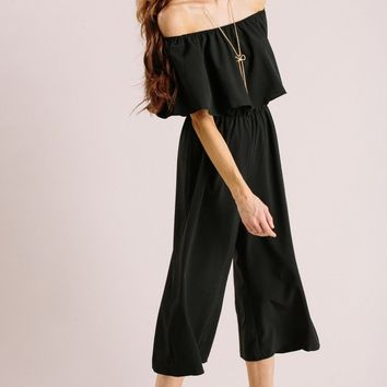 Maggie Black Off the Shoulder Culotte Jumpsuit
