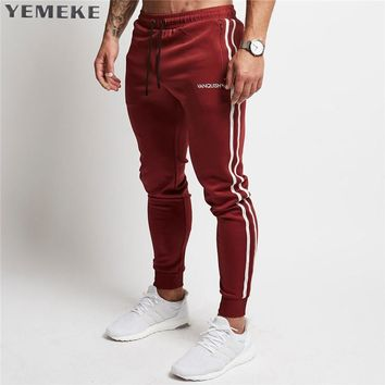 Men's Jogger Pants Cotton Male Bodybuilding Fitness Pants Casual Black Wine red Trousers Sweatpants For Man
