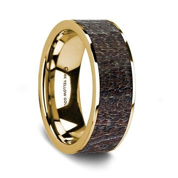 Lachie 14K Yellow Gold Wedding Ring with Dark Deer Antler Inlay  Flat Polished - 8 mm