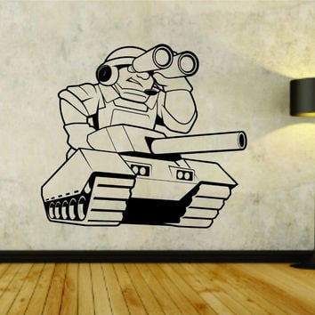 Military Tank with Soldier Branches Soldiers Uniform Vinyl Wall Decal Sticker