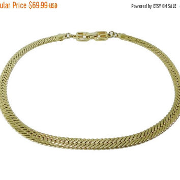 SALE :-) Givenchy Thick Herringbone Chain Necklace, Givenchy Paris New York Gold Plated Choker Necklace, Vintage Jewelry Jewellery