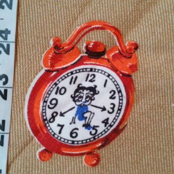 Vintage Betty Boop fabric alarm clock cotton print quilters sewing material to sew by the yard crafting project BTY, vintage fabric quilt