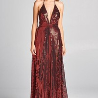Gia Holiday Sequin Shimmer Red Maxi Party Dress