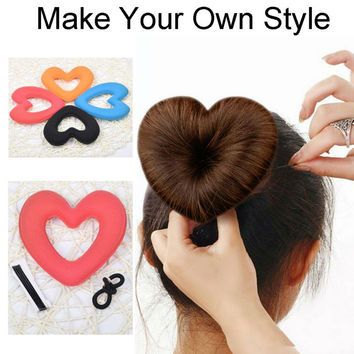 1PC Hair Donut Bun Heart Maker Magic Foam Sponge Hair Styling Tool Princess Hairstyle Hair Bands Hair Accessories A17R2C