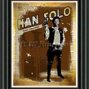 Star Wars - Han Solo -  Vintage Silhouette print  - Retro Star Wars Art - Dictionary print art