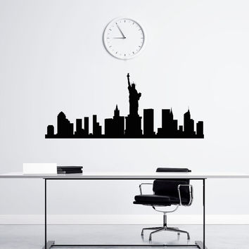 New York Skyline Wall Decal Vinyl Sticker NYC Skyline City Scape Silhouette Decals Offiice College Dorm Living Room Wall Art Home Decor C116