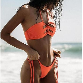 Sexy Women Summer Pure Color Chest Hollow Two Piece Bikini Swimsuit Orange