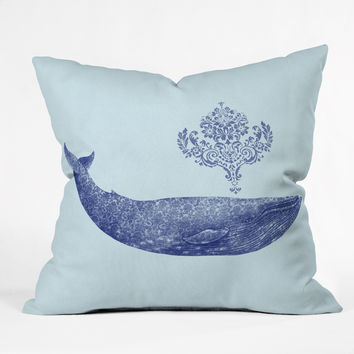 Terry Fan Damask Whale Throw Pillow