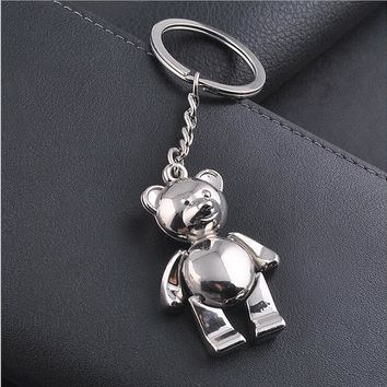 KC-75 metal animal Teddy Bear key chains fashion Personality  pandant silver plated  KeyChains New Arrive key ring