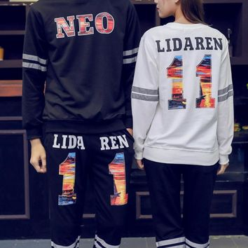 Tide brand Harajuku wind 3m reflective clothing couple suit sweater men and women shiny clothes letter suit