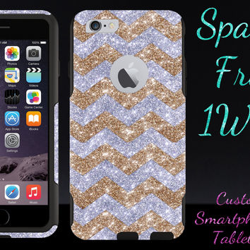 "OtterBox Commuter Series Case for 4.7"" iPhone 6 - Custom Glitter Case for 4.7"" iPhone 6 - Gold Small Chevron Silver/Black"