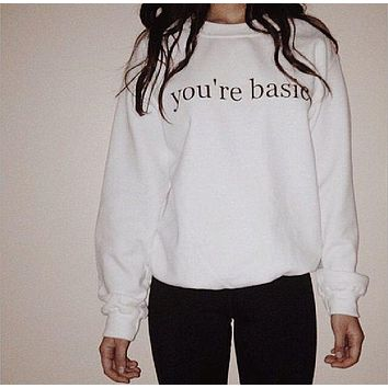 DCCKJ1A [you are basic] punk hip-hop fun letters printing thickened white sweater men and women