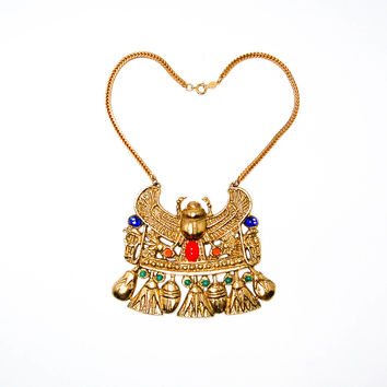 Accessocraft N.Y.C Winged Scarab Necklace Egyptian Revival Runway Mogul Designer Jewelry Gold Tone With Art Glass Cabochons (Small/Indie Brands)