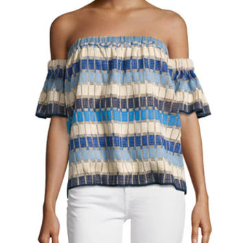 Milly Marina Off-the-Shoulder Netting Top, Multi