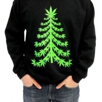 Ugly Christmas Marijuana Christmas Tree Adult Black Sweatshirt