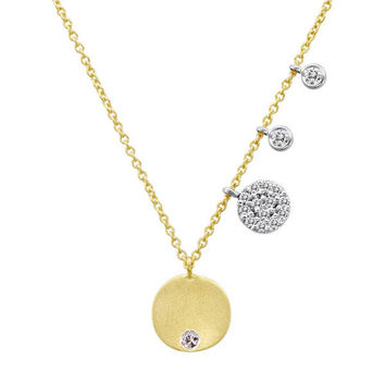 Yellow Gold Disc Necklace with Burnished Diamond in Center